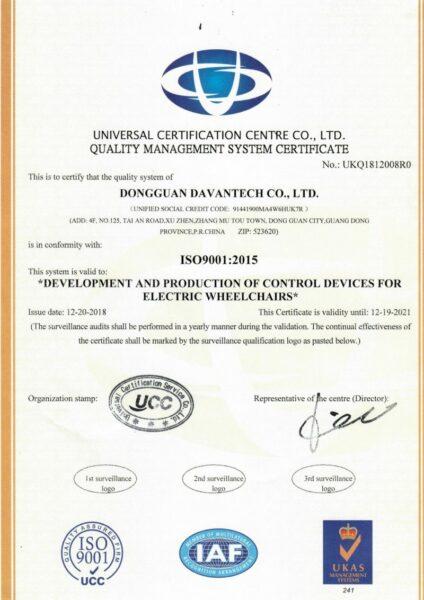 Davantech ISO9001:2015 certificate
