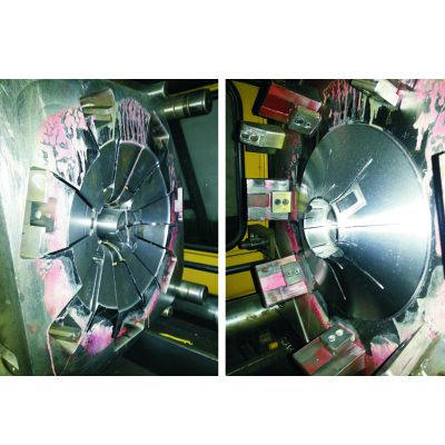 Large injection mold to produce a big plastic fan