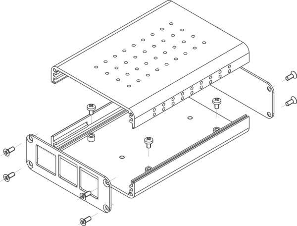 Parts of an aluminum Rasperry Pi enclosure set