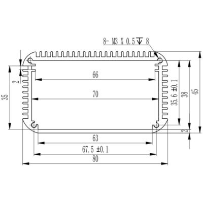 D1001457 electronic enclosure dimensions of extruded profile