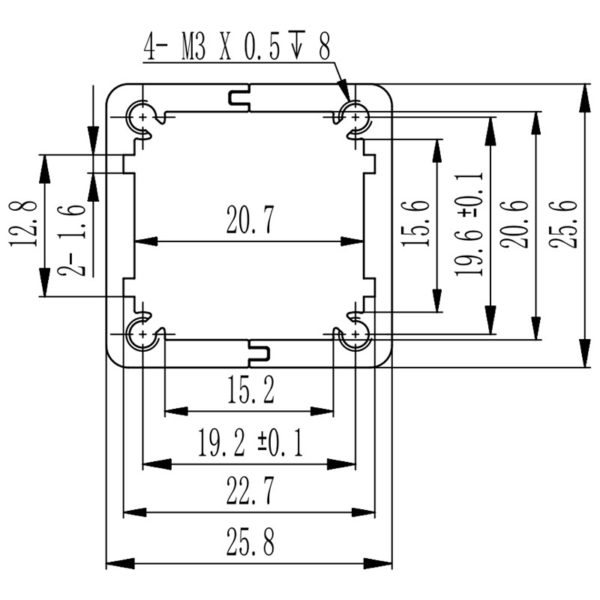 dimensions of aluminum extruded housing for electronics PCB 25x25 mm